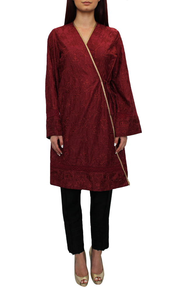 Ruby Embroidered Wrap Tunic