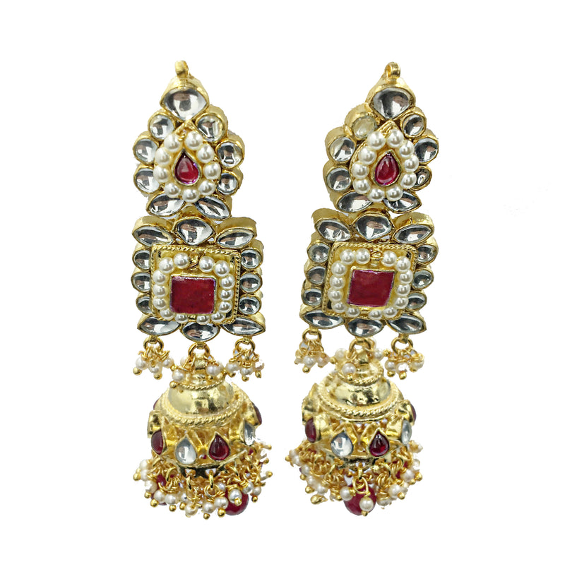 Ruby Kundan Squares Earrings