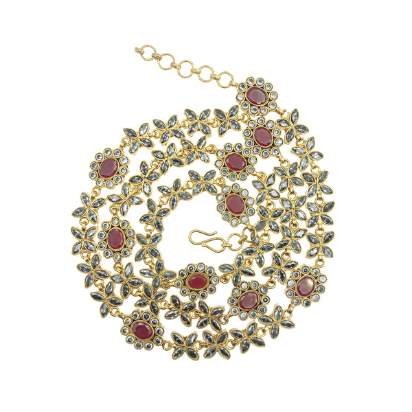 Ruby Leaf Mala Necklace
