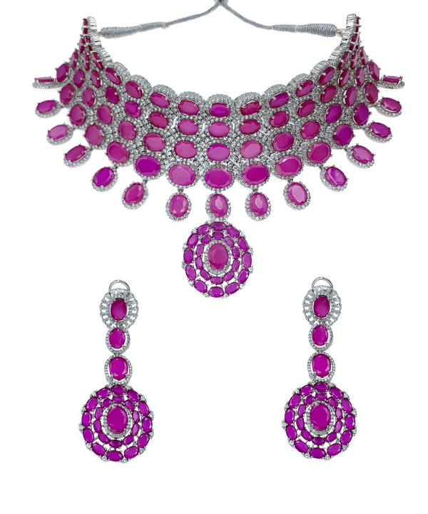 Ruby Ovals Pendant 4 Layer Choker Necklace & Earrings