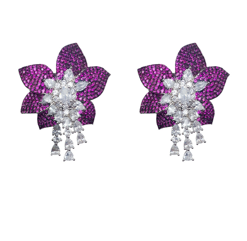 Ruby Pave Flower Earrings