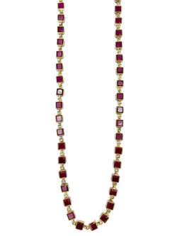 Ruby stone square necklace