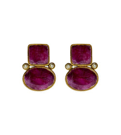 Untreated Turkish Ruby Stone Earrings