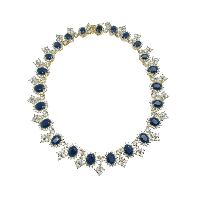 Sapphire Halo Collar Necklace & Earrings