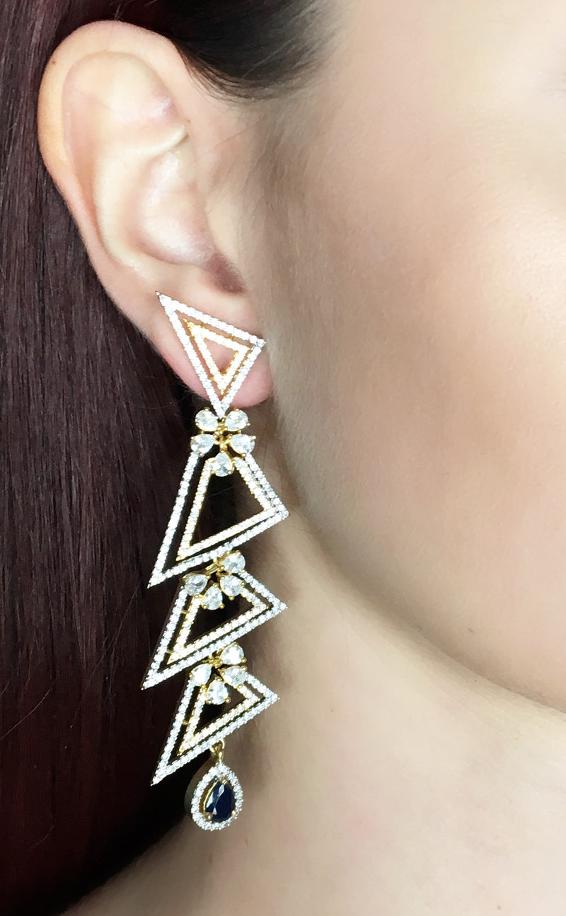 Triangles Diamondesque Sapphire Earrings