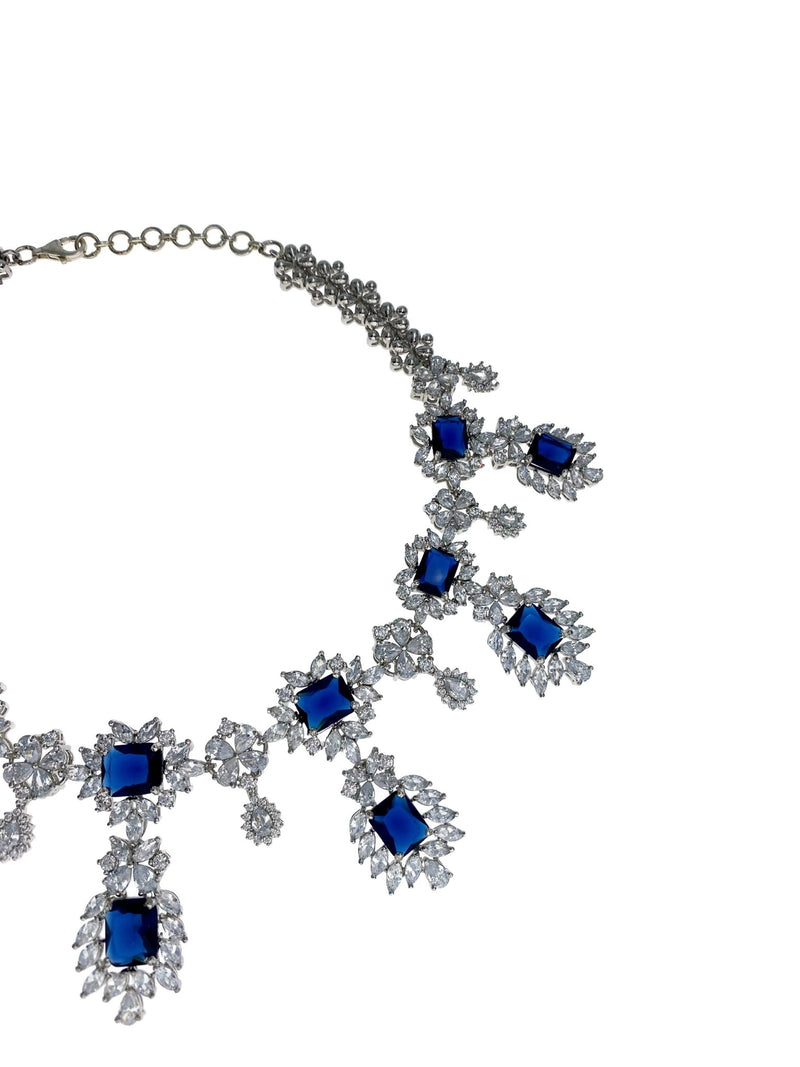 Sapphire Princess Cut Necklace and Earrings