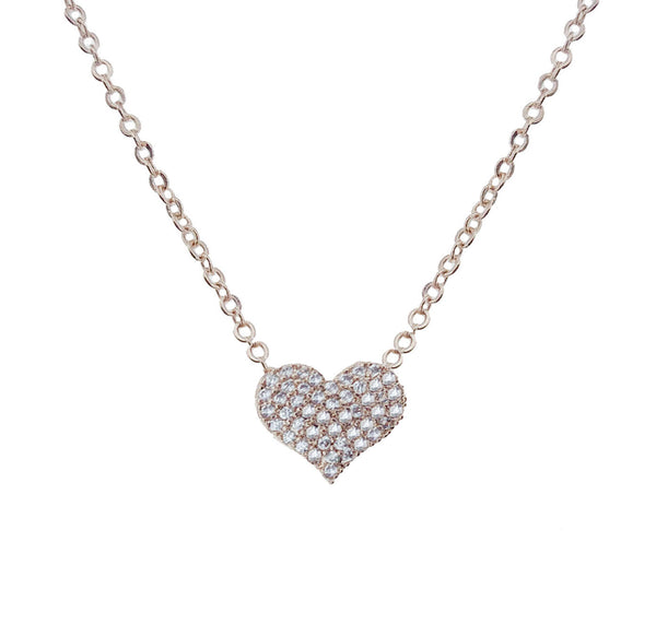 Pave Heart Filled Pendant Necklace