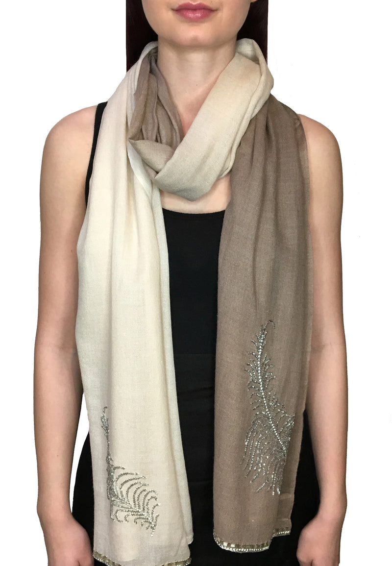 Tan Feather Beaded Pashmina Shawl