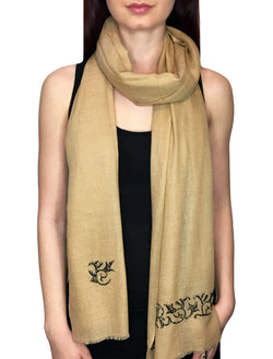 Tan Glass Beaded Scroll Pashmina Shawl