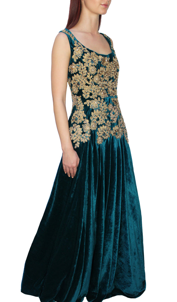 Emerald & Gold Velvet Gown