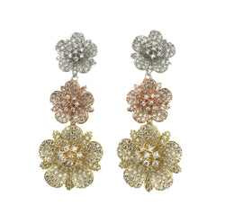 Tri Tone Flower Earrings
