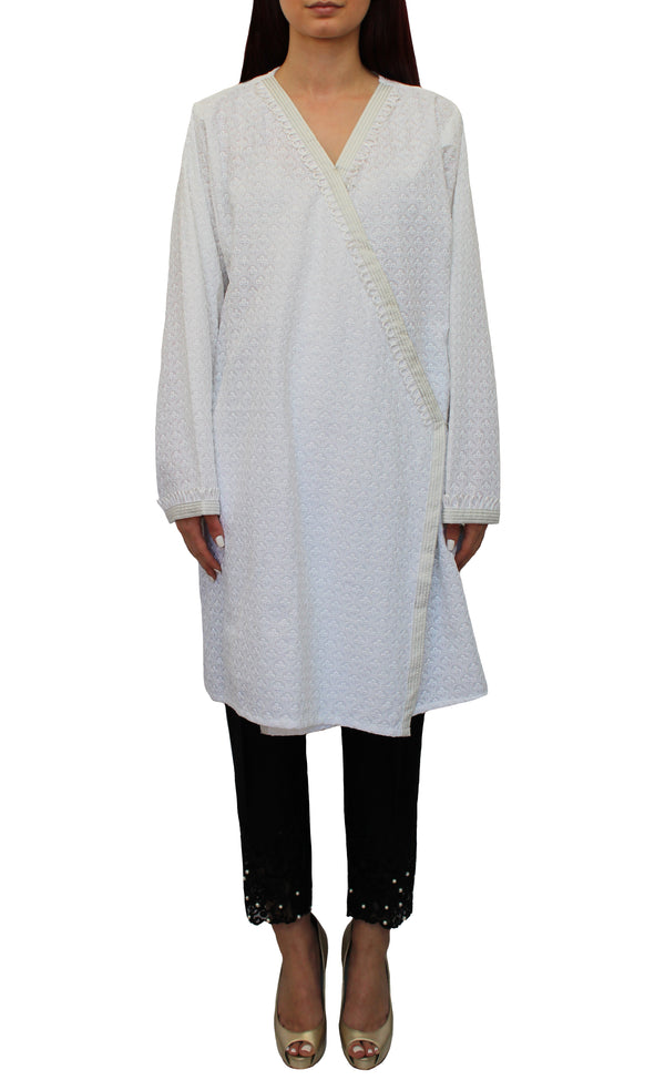 White Embroidered Wrap Tunic