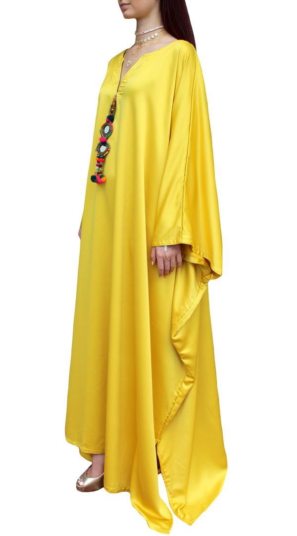 Yellow Silk Pom Kaftan