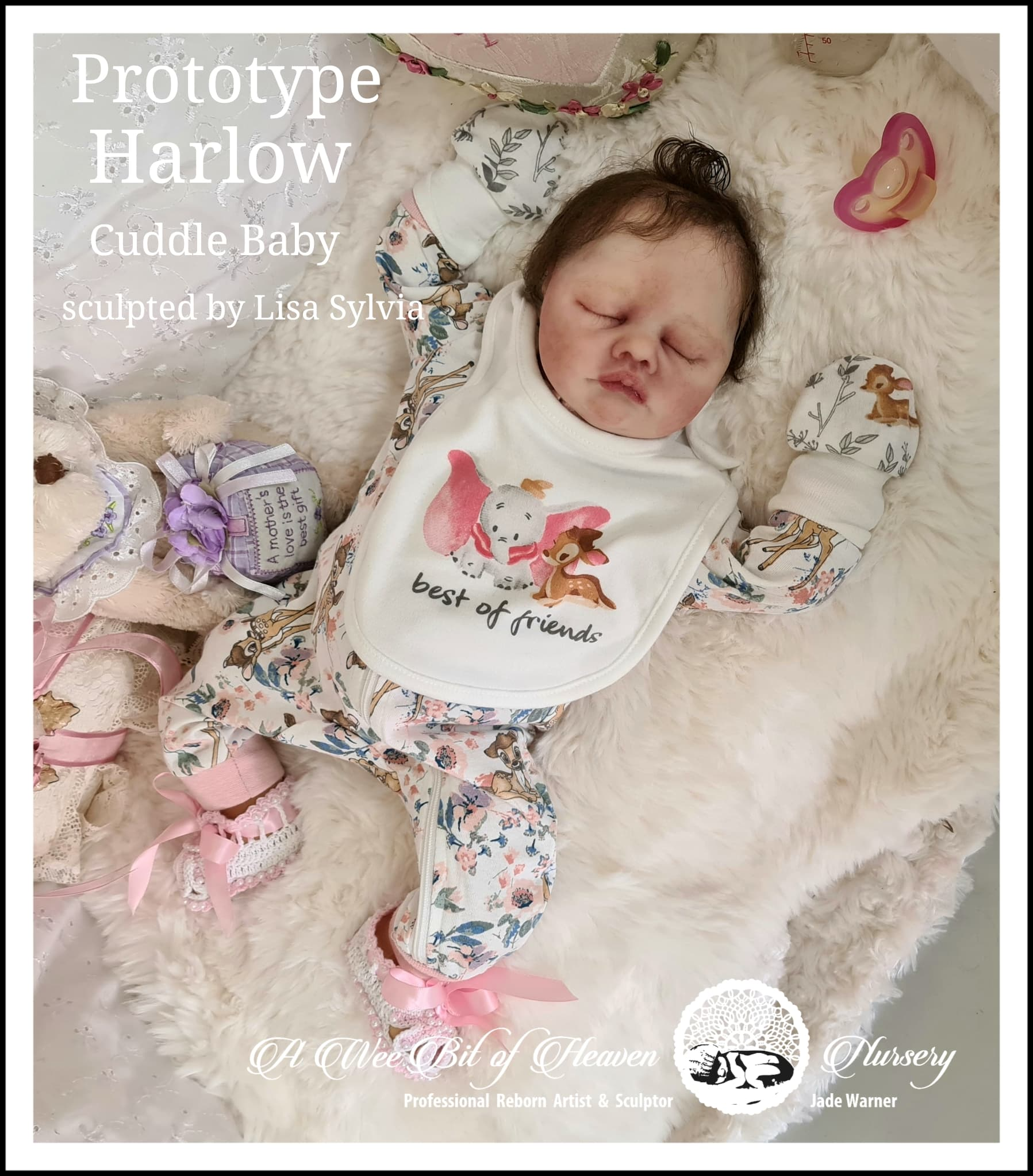 Silicone Cuddle Baby  Harlow sculpted by Lisa syliva --Prototype--