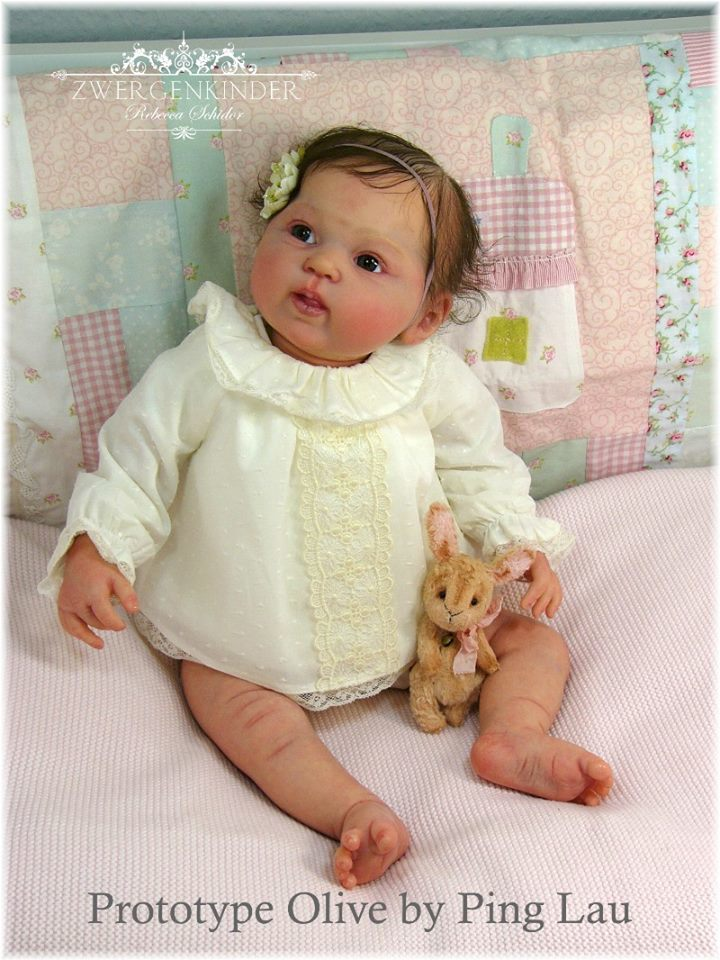 Olive Reborn Vinyl Doll Kit by Ping Lau Girl Tummy Plate & Back Plate