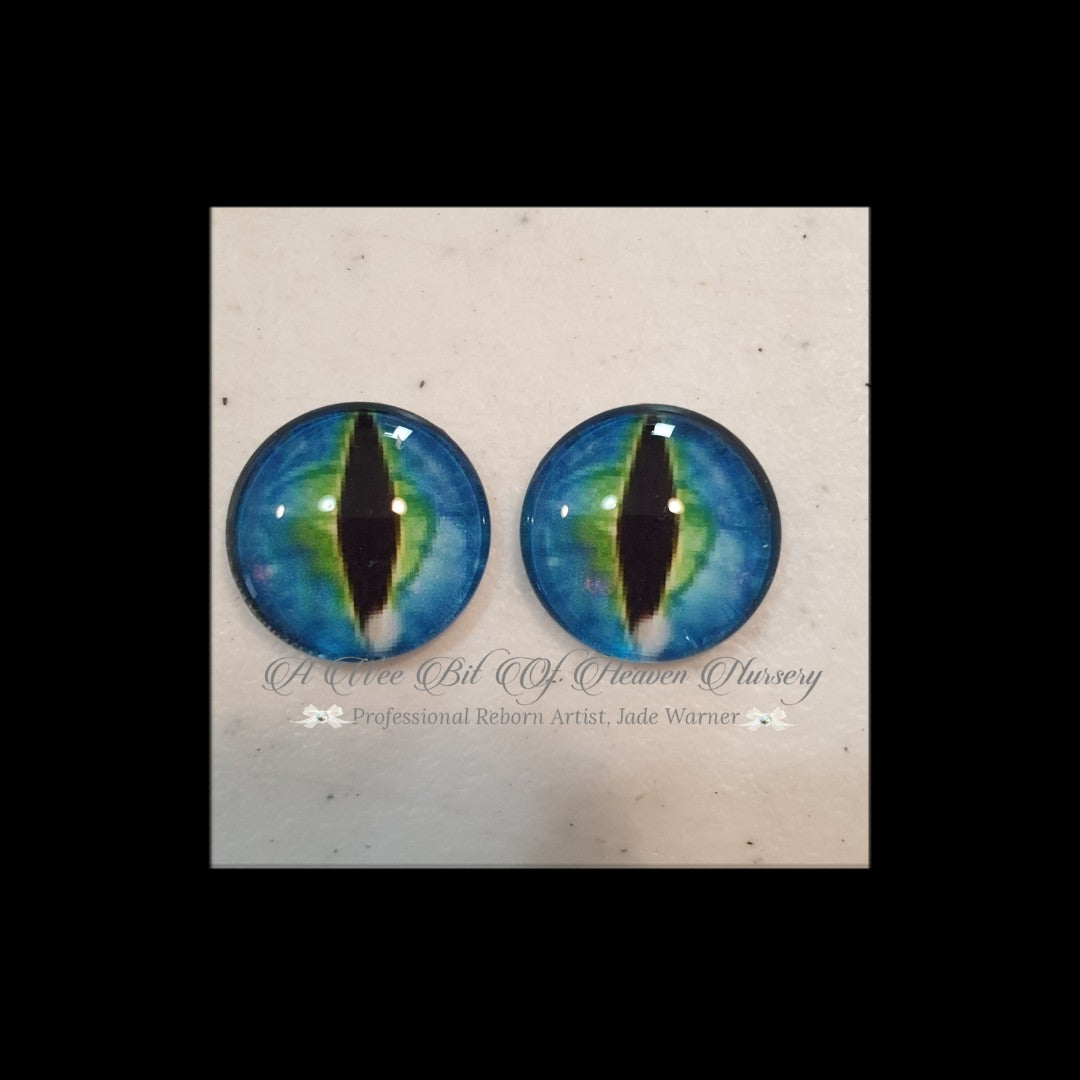 Fantasy Glass Cabochon  Hand Printed Eyes -size 18mm- #PR41