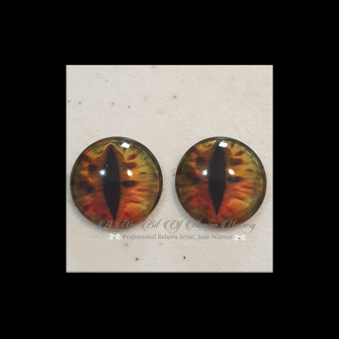 Fantasy Glass Cabochon  Hand Printed Eyes -size 18mm- #PR62