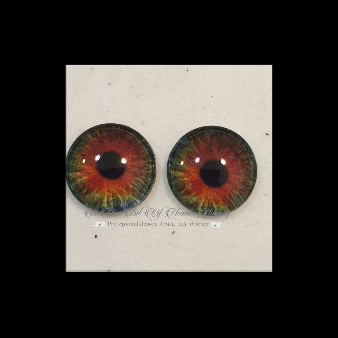 Fantasy Glass Cabochon  Hand Printed Eyes -size 20mm- #PR96