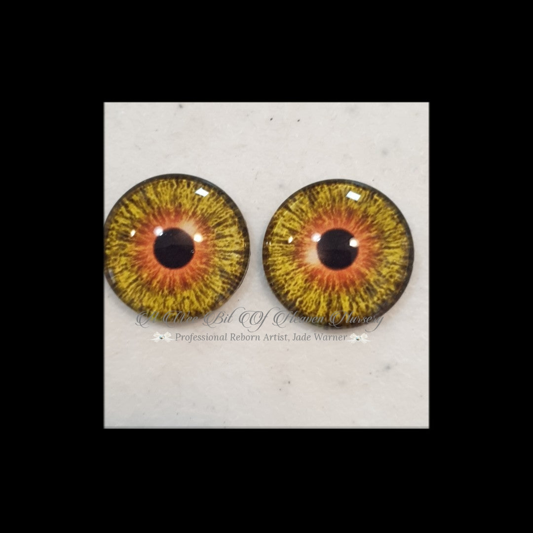 Fantasy Glass Cabochon  Hand Printed Eyes -size 18mm- #PR108
