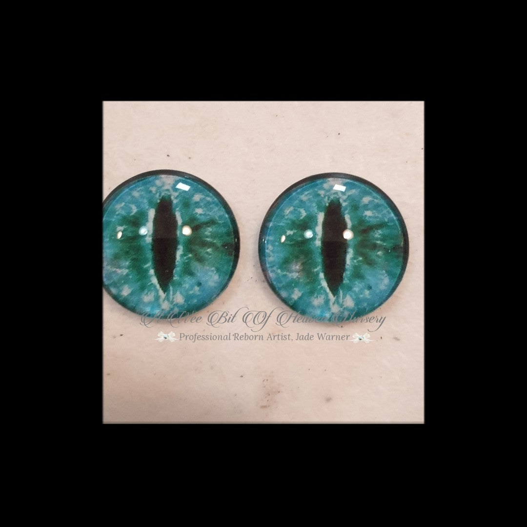 Fantasy Glass Cabochon  Hand Printed Eyes -size 20mm- #CD7