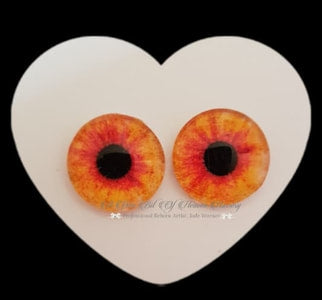 Fantasy Glass Cabochon  Hand Printed Eyes -size 18mm- #PR20