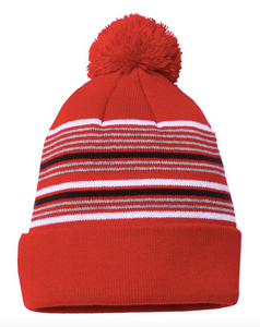 "Sportsman - 12"" Striped Pom-Pom Knit Beanie"