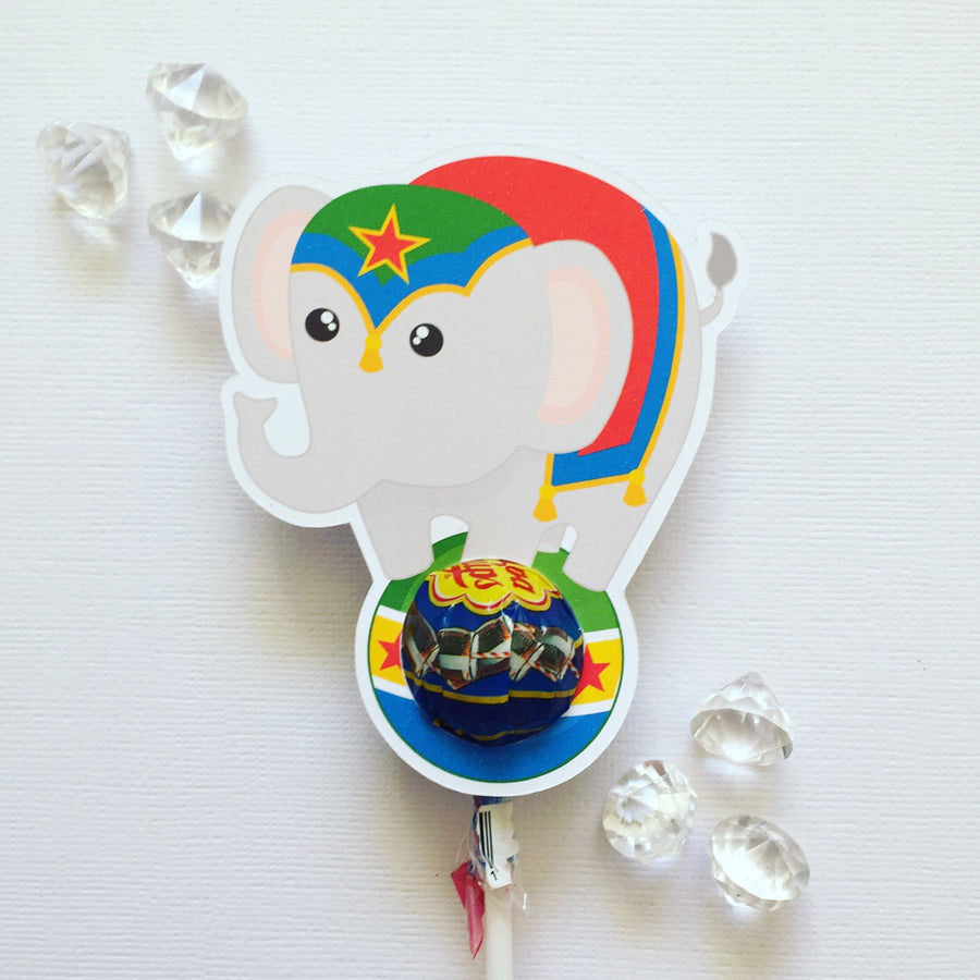 Circus elephant lollipop holders