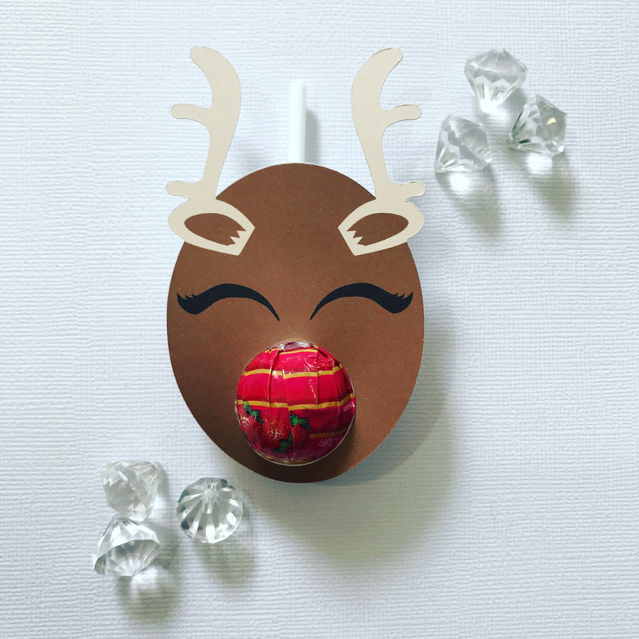 Sleepy reindeer lollipop holders
