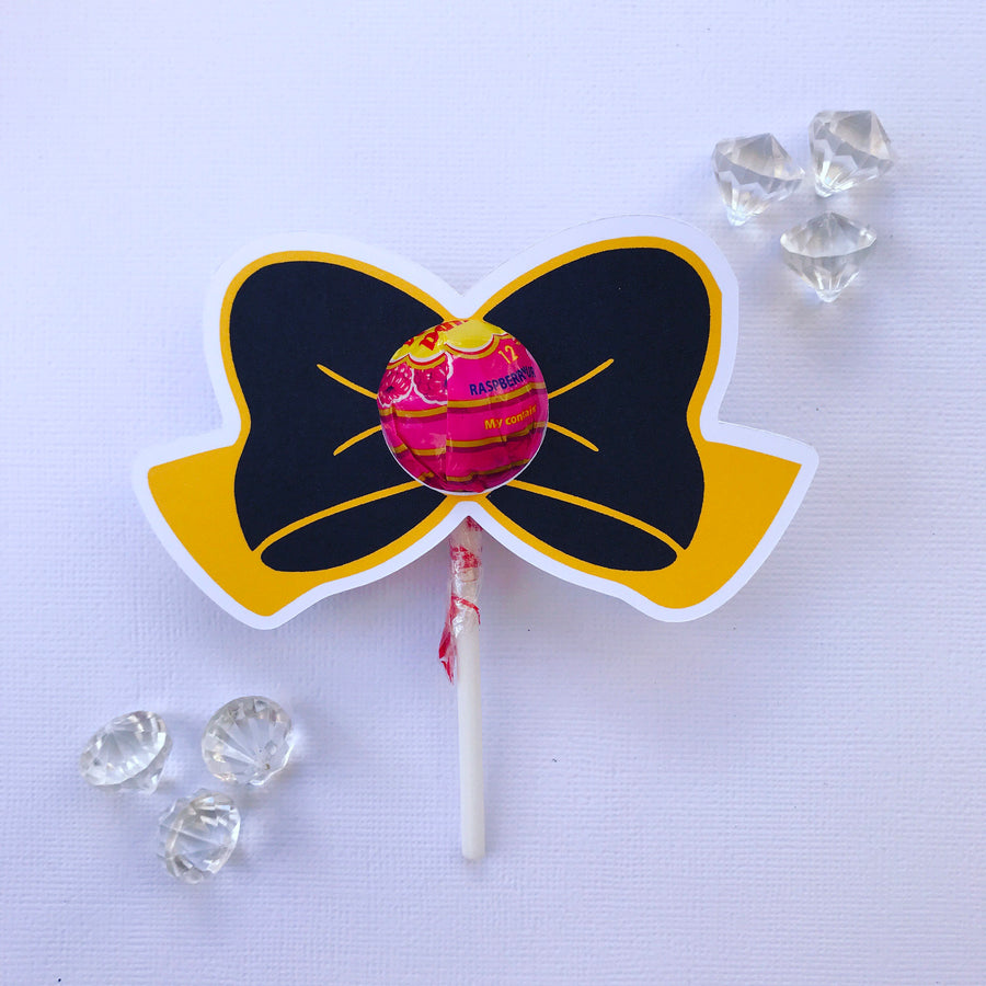 Yellow and black  bow lollipop holders