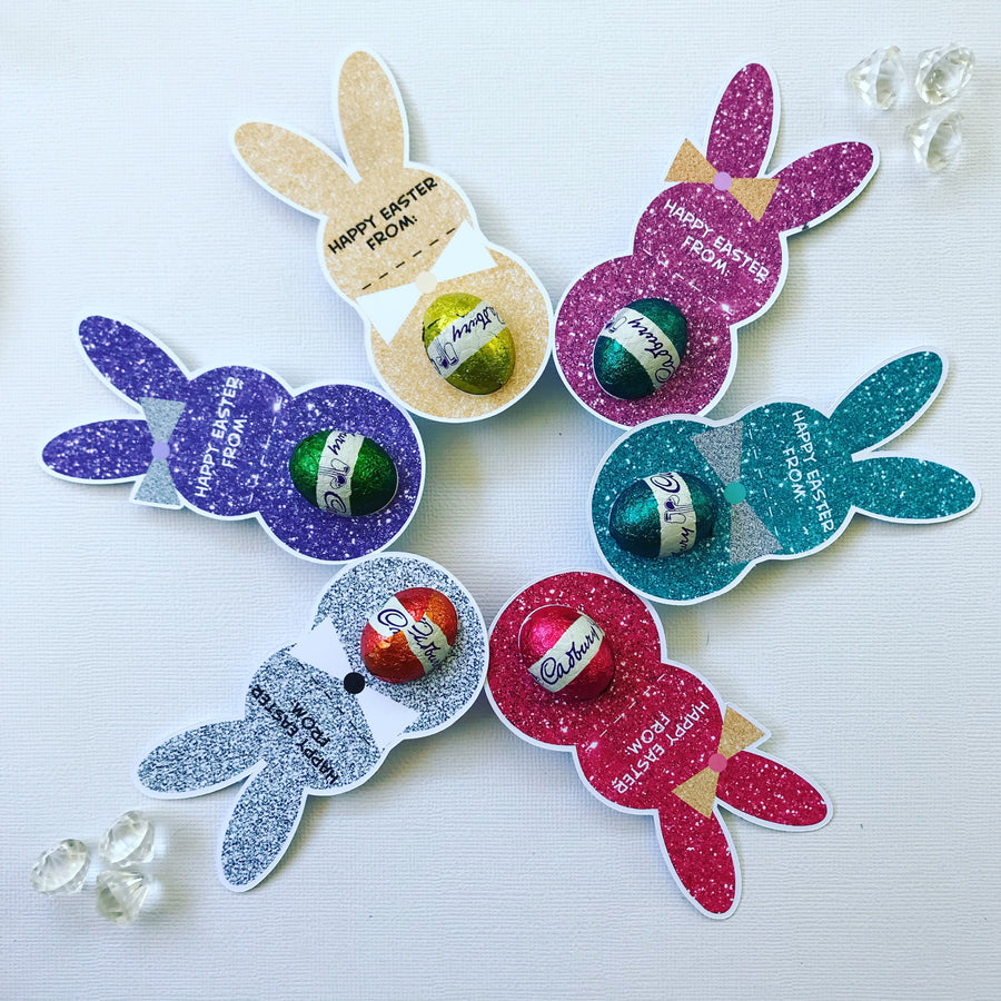 Personalised faux glitter Easter bunny egg holders pack of 30