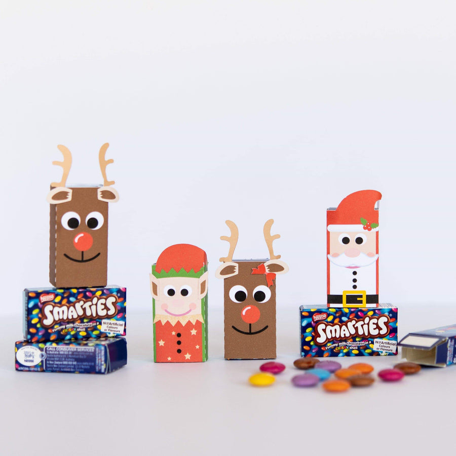 Reindeer, Elf and Santa smarties box cover