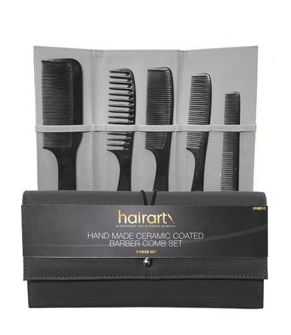 Barber Combs 5-pc Set - Ceramic Coating in Pouch