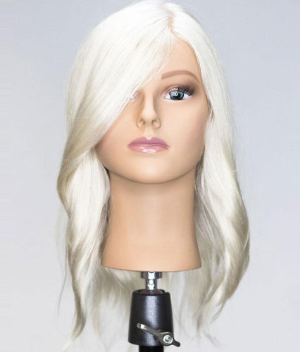 Bianca Platinum Blonde Human Hair Mannequin for color deposit - 17 inch hair