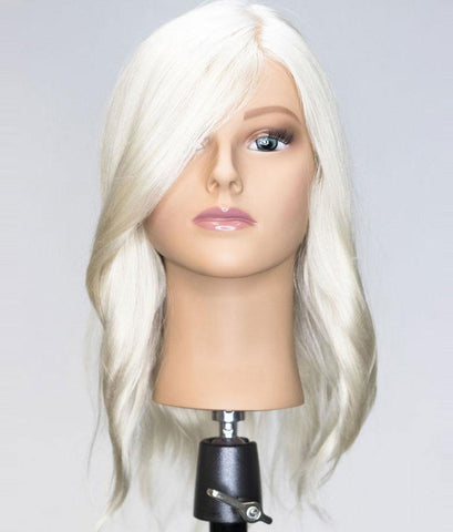Bianca Platinum Blonde Human Hair Mannequin for color deposit - 17 inch hair [IN STOCK JUNE 2019]