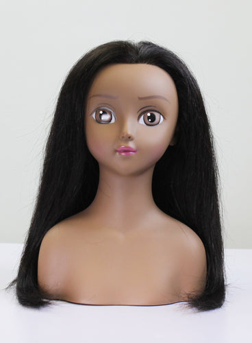 KIKI Human Hair Anime Doll Head Miniquin [HairArt Reika Mini Mannequin Styling Collection]