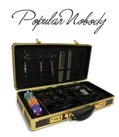 Popular Nobody Barber Case Black & Gold frame and lock