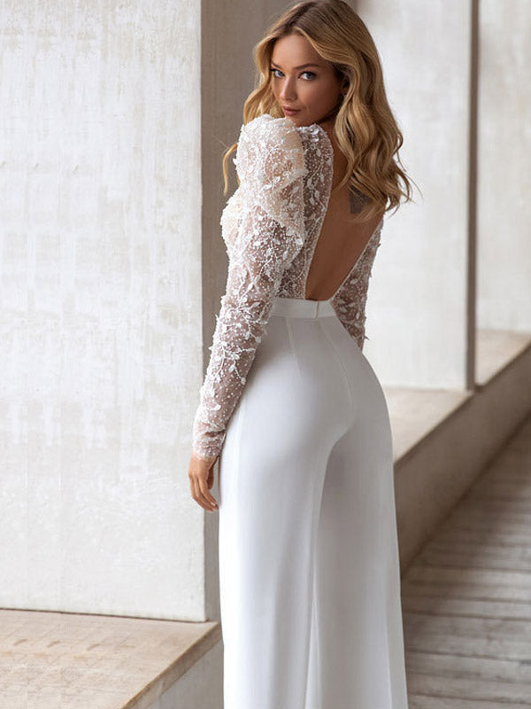 round Neck Sexy Long-Sleeved Bronze Sequined Jumpsuit