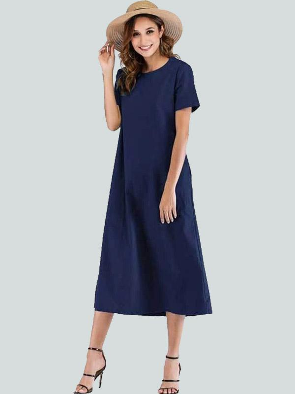 Women Casual Round Neck Maxi Dress With Pockets