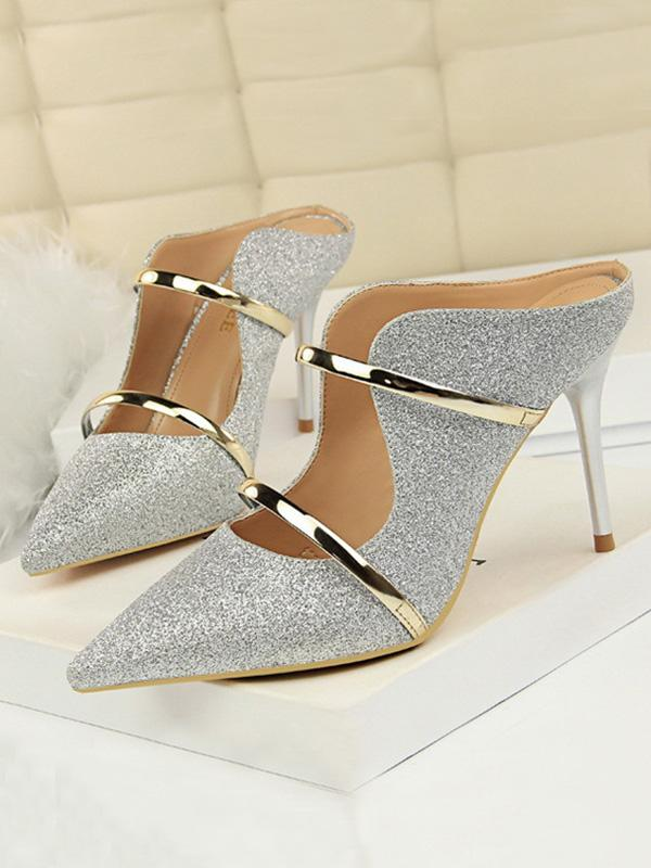 Fashion sexy stiletto heel sequins with summer shoes
