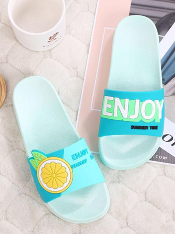 Summer non-slip soft bottom home household slippers in bathroom