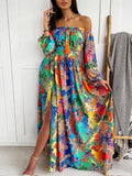 off the shoulder flower print long sleeve autumn dress Occident Beach Holiday Party dress