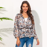 Deep V-neck Lace-up Bell Sleeve Chiffon Printed Long-Sleeved Top