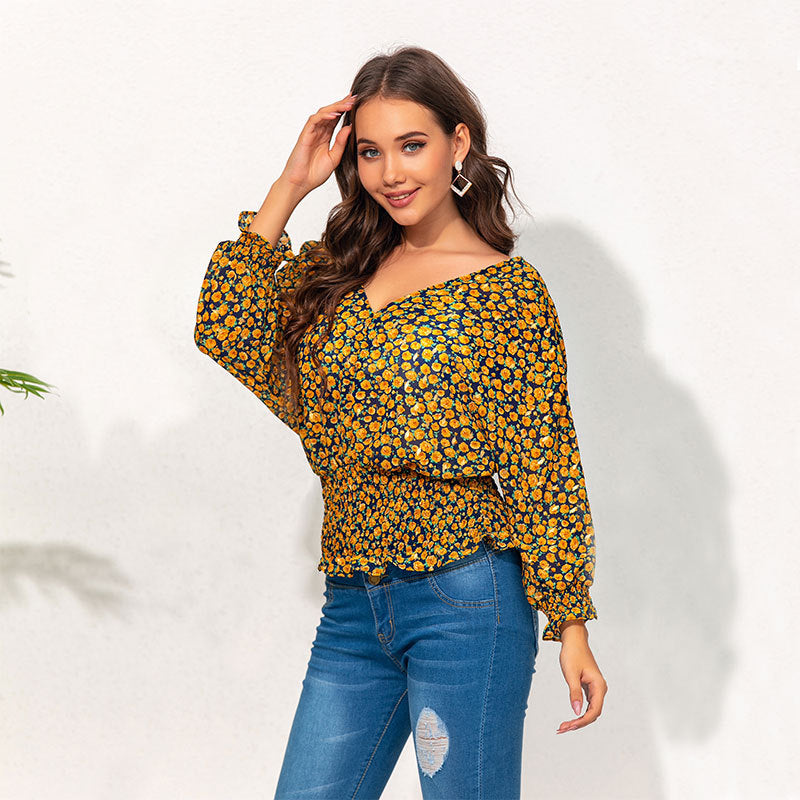 Long Sleeves Deep V-neck Floral Waist-Controlled Top