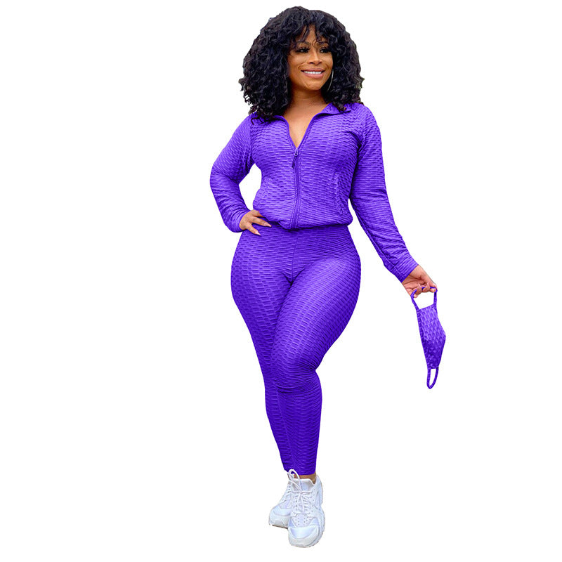Sexy Feminine Sportswear Joggers Zipper Long Sleeve  Sweater &  Pant Two Pieces Set Yoga Outfits Workout Clothing Athletic Wear for Women (With Mask)