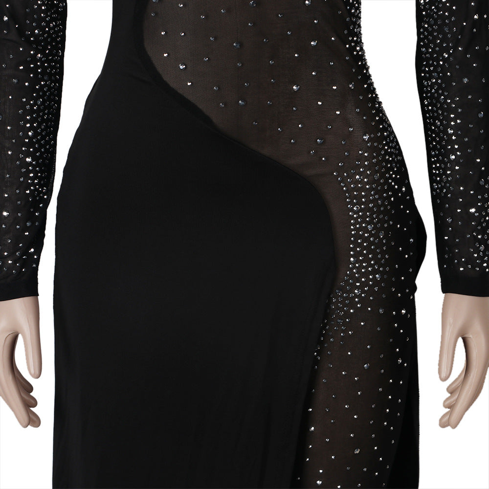 Diamond-See-through One-Piece Nightclub Rhinestone Dresses