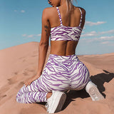 Women Athletic Wear-Striped Digital Zebra Printing Sexy Feminine Sportswear Joggers Yoga Outfits 2 Piece Set