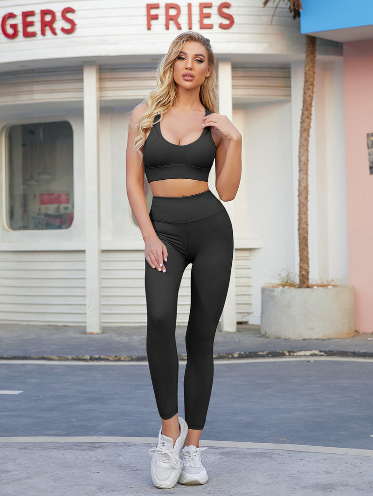 Women Athletic Wear-Solid Color Moisture Wicking Sexy Gym Clothes Yoga Outfits Feminine Sportswear 2 Piece Set
