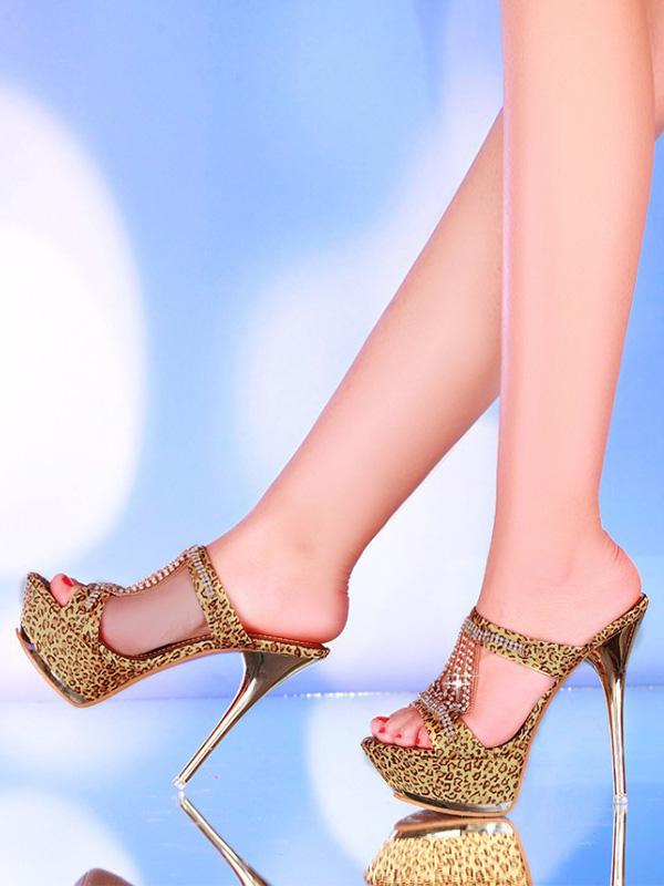 Super high heel rhinestone platform sandals and slippers fish mouth sandals