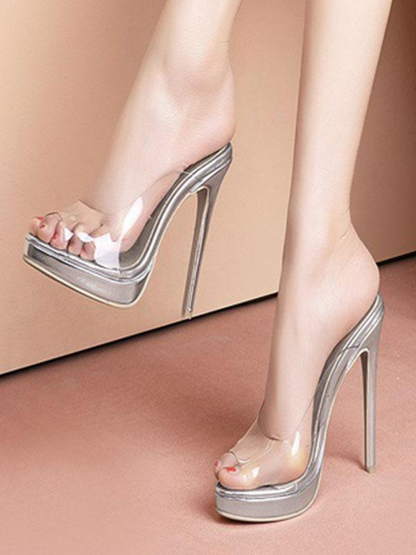 Women's sandals with new transparent shoes
