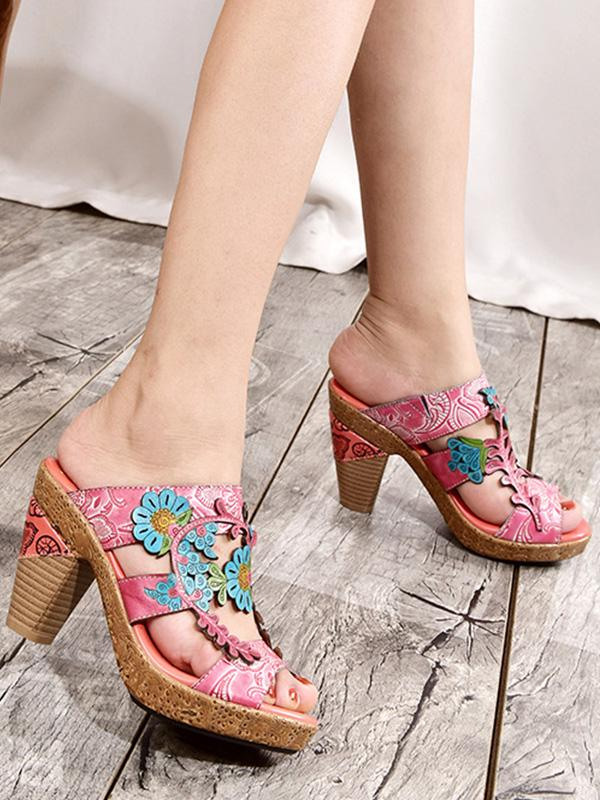 Leather flower bag with female high-heeled slippers